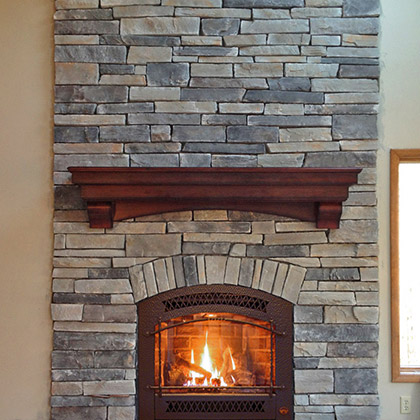 fireplace renovation complete makeover faux stone surround new gas fireplace insert in darien ct