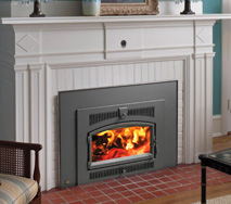 Wood burning fireplace insert in fairfield county