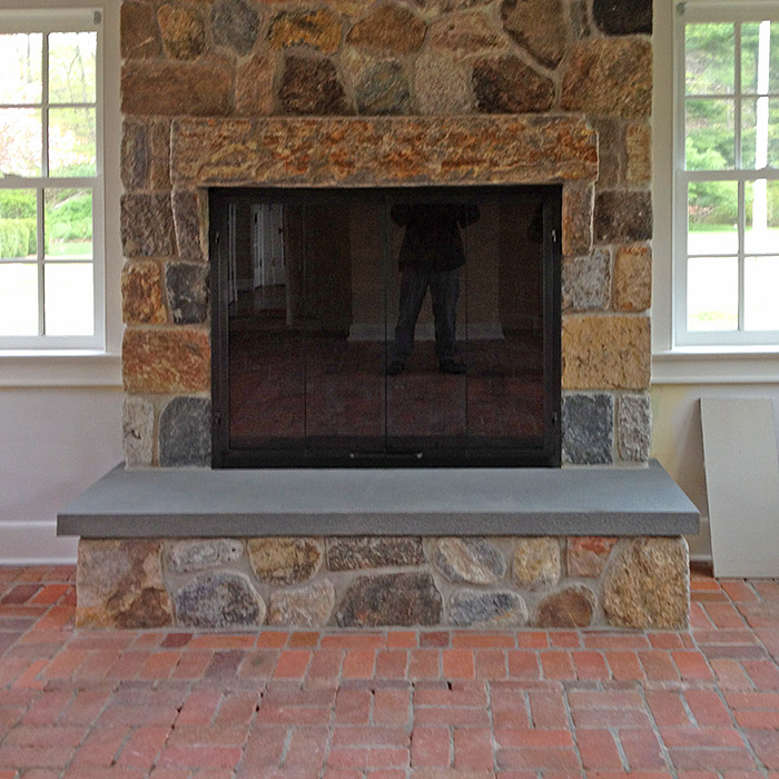 custom stone fireplace and surround in new home in weston ct