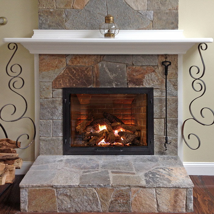 stylish custom fireplace using real stone in darien ct near danbury ct
