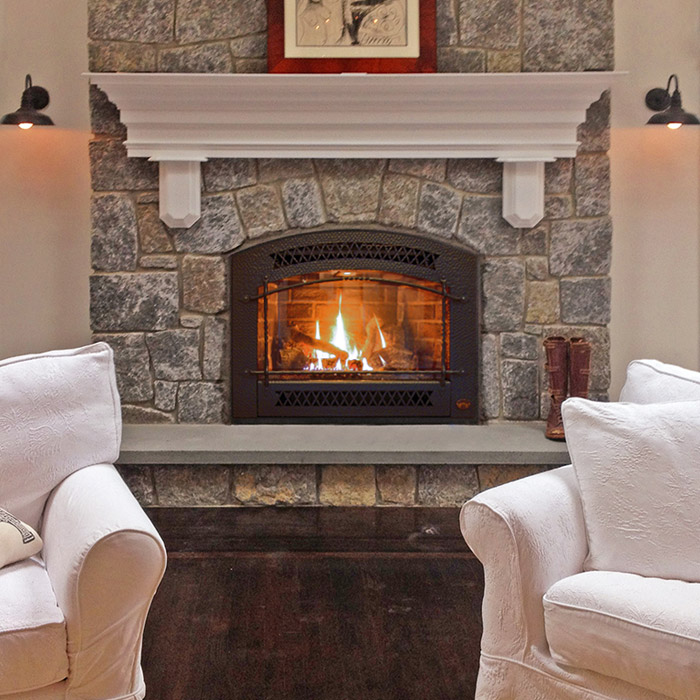 quality stone work on fireplace surround custom fireplace mantel and fireplace insert in easton ct near westport ct