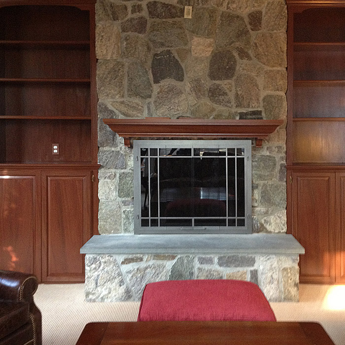 modern fireplace insert with real stone fireplace in brookfield, ct