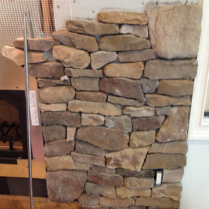 detail of stone work done on custom fireplace in bethel ct