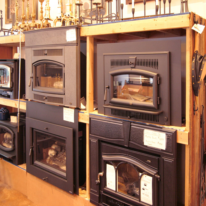 fireplace inserts in showroom at wilton fireplace store
