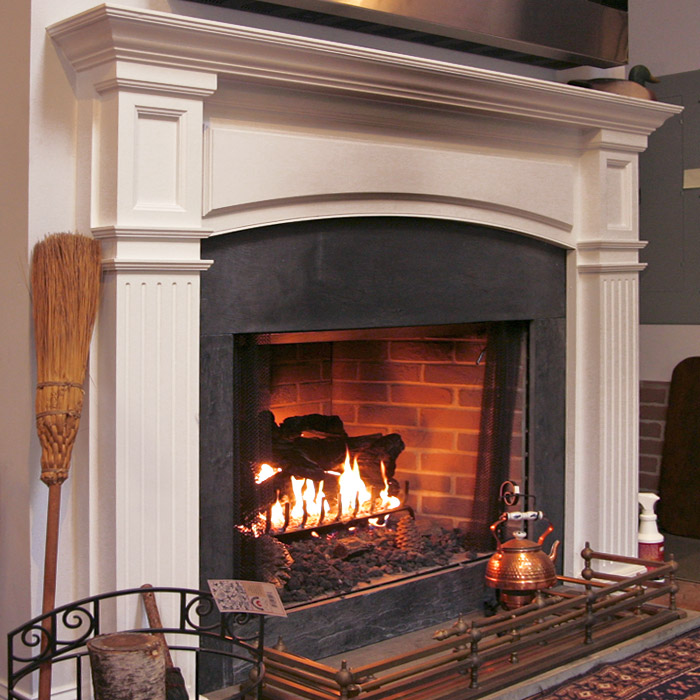 classic looking gas fireplace with beautiful mantel and surround in stamford, darien, easton, norwalk ct area