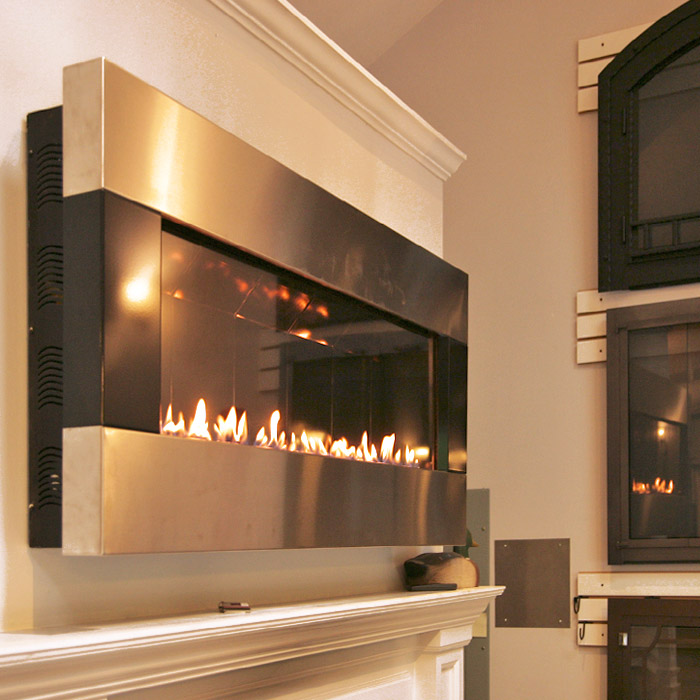 linear gas fireplace install in our wilton showroom near westchester county ny and fairfield county ct